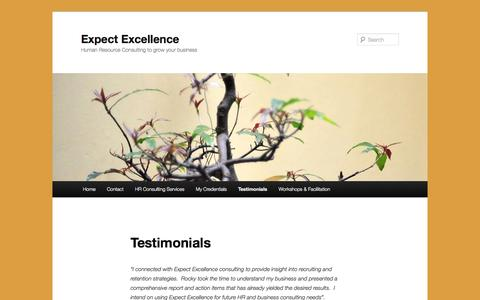 Screenshot of Testimonials Page expectexcellence.ca - Testimonials | Expect Excellence - captured Oct. 3, 2014