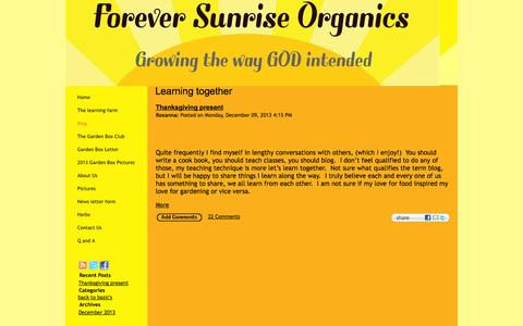 Screenshot of Blog foreversunriseorganics.com - Learning together - captured Oct. 6, 2014