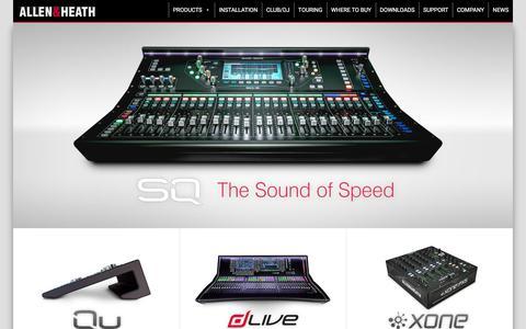Screenshot of Home Page allen-heath.com - Allen & Heath - Professional audio mixing consoles - captured April 24, 2018