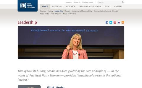 Screenshot of Team Page sandia.gov - Sandia National Laboratories: About Sandia: Leadership - captured Nov. 17, 2016