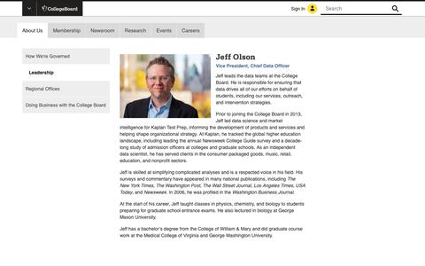 Screenshot of Team Page collegeboard.org - Jeff Olson - Vice President, Data Science - The College Board - captured Jan. 4, 2019