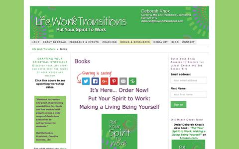 Screenshot of Products Page lifeworktransitions.com - Books – Deborah Knox – Put Your Spirit to Work – Life Work Transitions - captured July 19, 2018