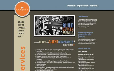 Screenshot of Services Page conjureconsulting.com - Conjure Consulting: creating solutions for the restaurant industry | Welcome - captured Sept. 30, 2014