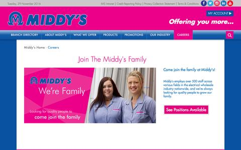 Screenshot of Jobs Page middys.com.au - Middy's Careers & Positions Available - Join the Middy's Family - Middy's Data & Electrical Wholesaler - captured Nov. 28, 2016