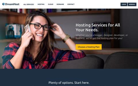 Screenshot of Services Page dreamhost.com - Best web hosting features, vps hosting, dedicated hosting, by DreamHost – DreamHost - captured Nov. 16, 2015