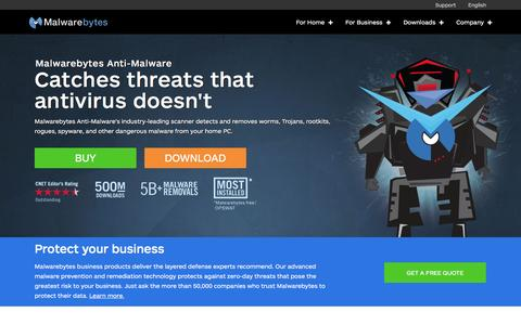 Screenshot of Home Page malwarebytes.org - Malwarebytes | Free Anti-Malware & Internet Security Software - captured Dec. 5, 2015