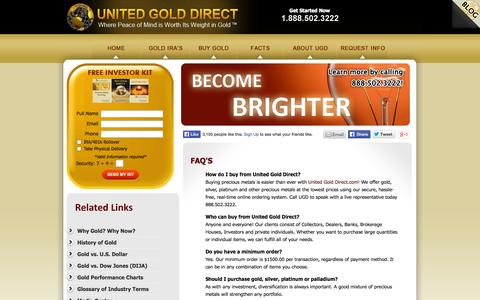 Screenshot of FAQ Page unitedgolddirect.com - IRA Gold Investment   Precious Metal Investment   Gold Backed IRA - captured Oct. 27, 2014