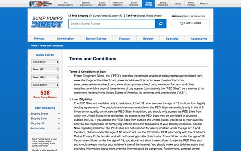 Screenshot of Terms Page sumppumpsdirect.com - Terms of Use @ Sump Pumps Direct.com - Your Online Sump Pump Superstore - captured July 15, 2017