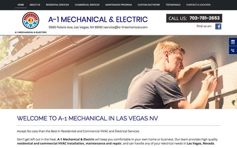 Screenshot of Home Page a-1mechanical.com - Air Conditioning Specialist | Las Vegas NV | A-1 Mechanical & Electric - captured Sept. 29, 2017