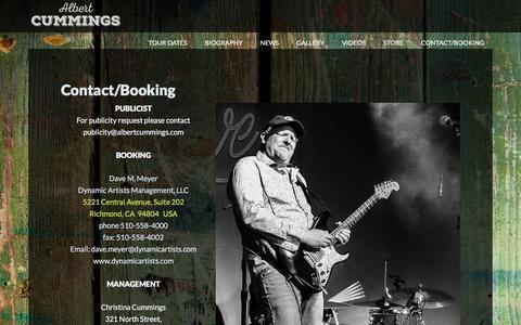 Screenshot of Contact Page albertcummings.com - Contact/Booking - Albert Cummings - captured June 27, 2018