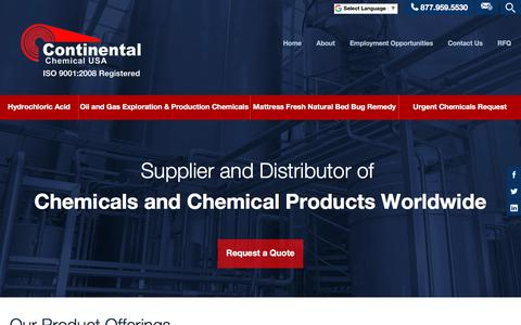 Screenshot of Home Page continentalchemicalusa.com - Standard | Custom Blended | Maintenance Chemicals - Continental Chemical - captured July 21, 2018