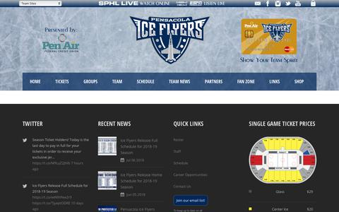 Screenshot of Team Page pensacolaiceflyers.com - Pensacola Ice Flyers   » TEAM - captured July 16, 2018
