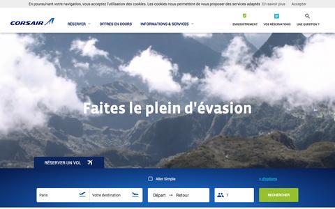 Screenshot of Home Page corsair.fr - Corsair.fr - Vols et Billets d'avion - captured Nov. 12, 2016