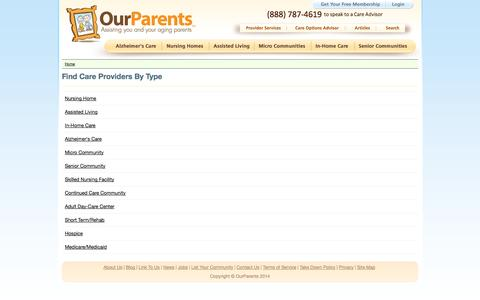 Screenshot of Site Map Page ourparents.com - OurParents - Nursing Homes, Senior Care Providers & Assisted Living - captured Oct. 26, 2014