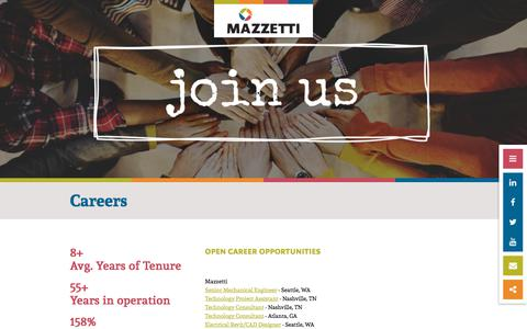 Screenshot of Jobs Page mazzetti.com - Engineering internships benefit corporation careers | Mazzetti - captured Sept. 20, 2018