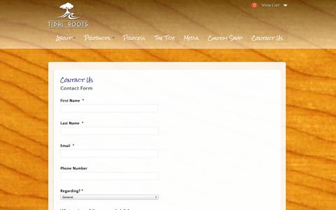 Screenshot of Contact Page tidalroots.com - Contact Us    Tidal Roots Stand Up Paddleboards   Connect to the Outdoors - captured Oct. 7, 2014