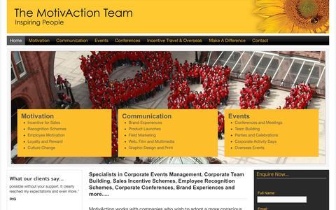 Screenshot of Home Page motivaction.co.uk - Team Building | Corporate Events | Event Management | MotivAction - captured Oct. 18, 2018