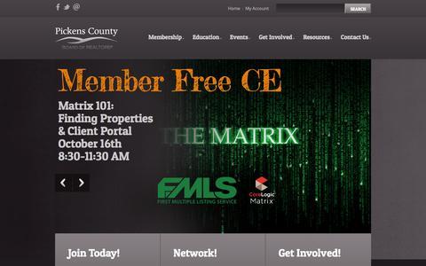 Screenshot of Home Page pickensrealtors.com - Pickens County Board of REALTORS®: Official Website - captured Oct. 2, 2014