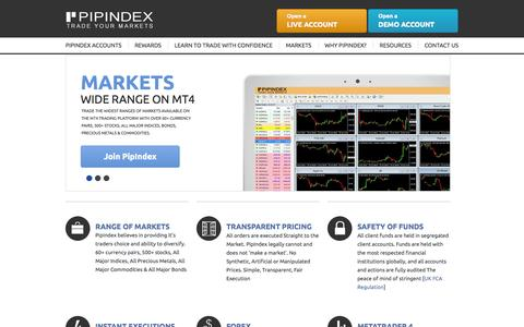 Screenshot of Home Page pipindex.com - Home | PipIndex Capital Markets - captured Sept. 19, 2014