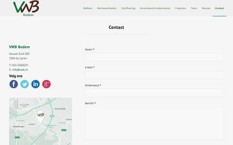 Screenshot of Contact Page vwb.nl - Het Veldwerkbureau     Contact - captured Aug. 7, 2017