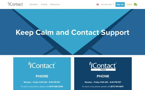 Screenshot of Support Page icontact.com - Tools and Support   iContact - captured July 3, 2016