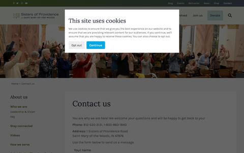 Screenshot of Contact Page spsmw.org - Contact us - Sisters of Providence of Saint Mary-of-the-Woods - captured Oct. 18, 2018