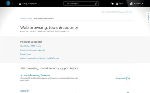 Web browsing, tools & security Support for Email Customers - AT&T