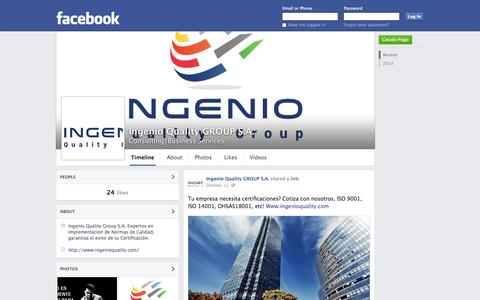 Screenshot of Facebook Page facebook.com - Ingenio Quality GROUP S.A. | Facebook - captured Oct. 23, 2014