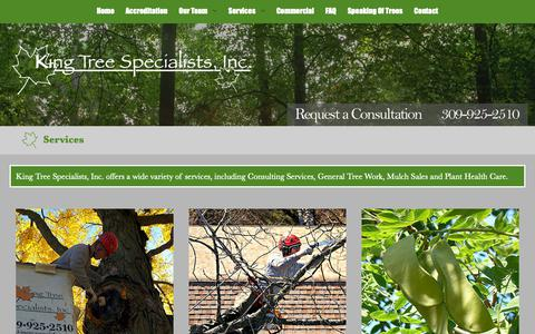 Screenshot of Services Page kingtreespecialists.com - Services - King Tree Specialists, Inc. - captured Oct. 15, 2018