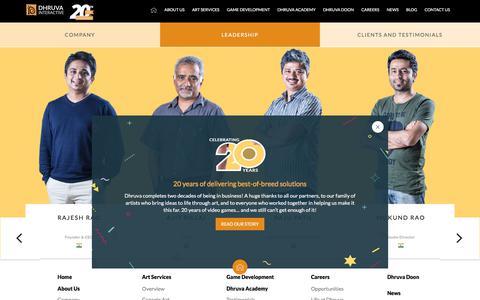 Screenshot of Team Page dhruva.com - Dhruva Leadership Team | Game Art Outsourcing | Video Game Outsourcing | Mobile Game Art Outsourcing | Animation Ousourcing | Best game art outsourcing company - Dhruva Interactive - captured April 8, 2018