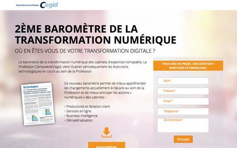 Screenshot of Landing Page cegid.com - 2ème baromètre de la transformation numérique - captured March 27, 2018