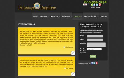 Screenshot of Testimonials Page thelandscapedesigncenter.com - Testimonials - Annapolis Maryland - captured Sept. 30, 2014
