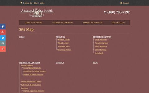 Screenshot of Site Map Page adhaz.com - Site Map - Advanced Health Dental - captured Nov. 20, 2016