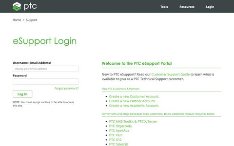 Screenshot of Support Page ptc.com - eSupport Login | PTC - captured Nov. 13, 2018