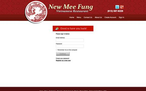 Screenshot of Login Page newmeefung.com - Sign In | New Mee Fung Restaurant - captured Nov. 15, 2018