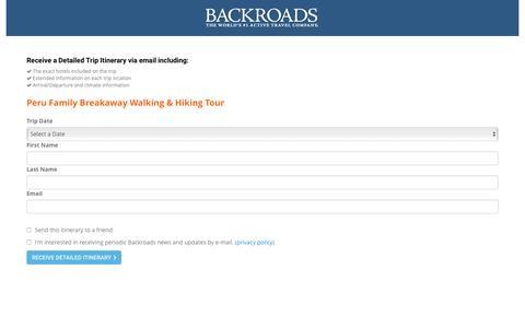 Screenshot of Landing Page backroads.com - MyBackroads - Detailed Itinerary - captured May 16, 2017