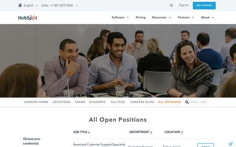 Screenshot of Jobs Page hubspot.com - All Openings | HubSpot Careers - captured Oct. 12, 2017