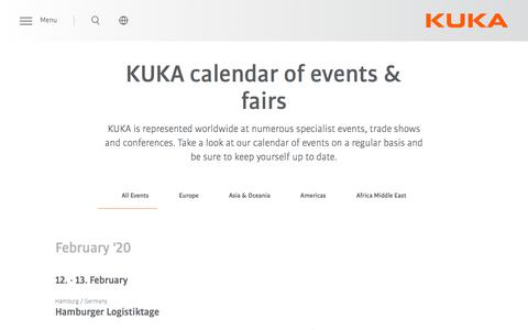 Screenshot of Press Page kuka.com - Calendar of Events & Fairs | KUKA AG - captured Feb. 13, 2020