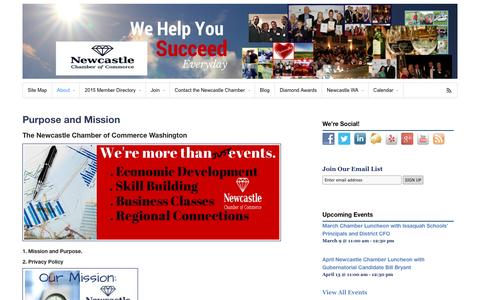 Screenshot of About Page newcastle-chamber.org - Purpose and Mission - Newcastle Chamber of Commerce - captured March 5, 2016