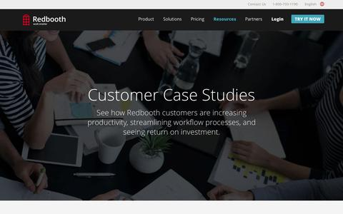 Screenshot of Case Studies Page redbooth.com - Redbooth Customer Case Studies - captured Nov. 18, 2015