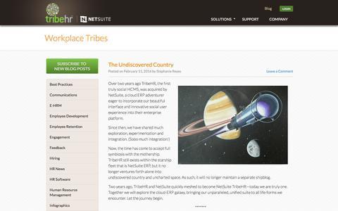Screenshot of Blog tribehr.com - Human Resources Blog | HR Tech Blog | TribeHR - captured March 1, 2016