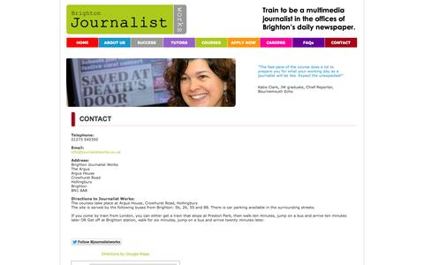 Screenshot of Contact Page journalistworks.co.uk - Journalist Works, Brighton's Media Training Company - captured Oct. 5, 2014
