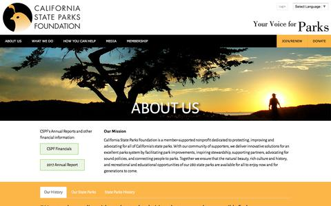 Screenshot of About Page calparks.org - About Us - captured Sept. 26, 2018