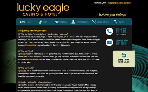 Screenshot of FAQ Page luckyeagle.com - Frequently Asked Questions | Lucky Eagle Casino - captured Feb. 2, 2016