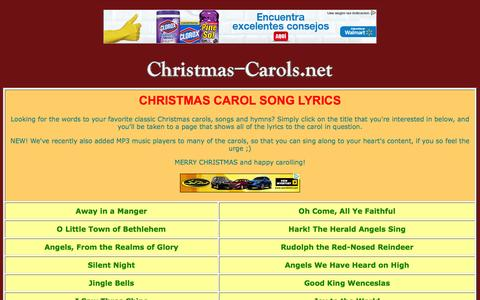 Screenshot of Home Page christmas-carols.net - CHRISTMAS-CAROLS.NET - Rejoice in the Christmas Spirit! - captured March 11, 2016