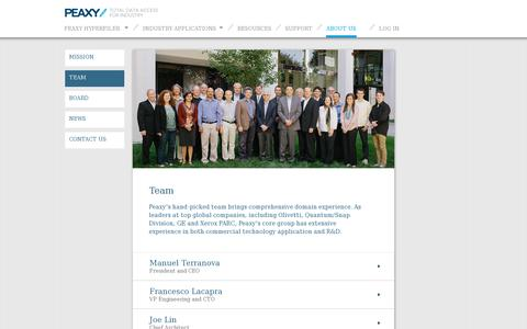 Screenshot of Team Page peaxy.net - Peaxy team members - captured July 19, 2014