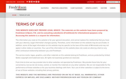 Screenshot of Terms Page fredlaw.com - Terms of Use · Fredrikson & Byron, P.A. - captured Nov. 25, 2016