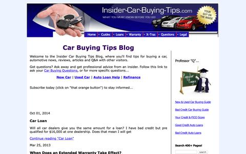 Screenshot of Blog insider-car-buying-tips.com - Car Buying Tips Blog - captured Oct. 25, 2018