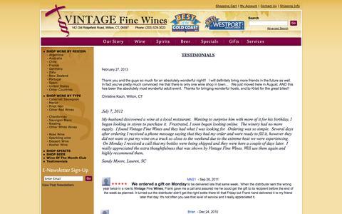 Screenshot of Testimonials Page vfwines.com - Vintage Fine Wines Testimonials - captured Oct. 7, 2014