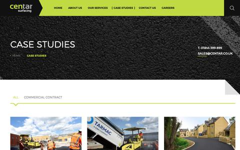 Screenshot of Case Studies Page centar.co.uk - Case Studies – Centar Surfacing - captured Sept. 27, 2018